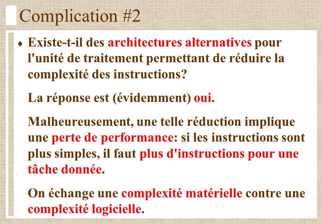 Complication #2 Existe-t-il des architectures alternatives pour l unité de traitement permettant de réduire la complexité des instructions.