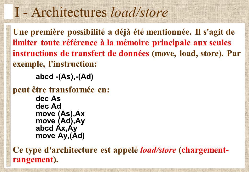 I - Architectures load/store Une première possibilité a déjà été mentionnée.