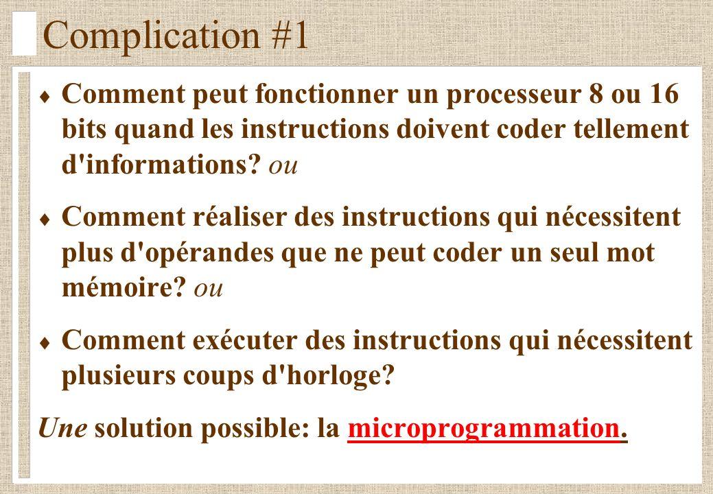 Complication #1 Comment peut fonctionner un processeur 8 ou 16 bits quand les instructions doivent coder tellement d informations.