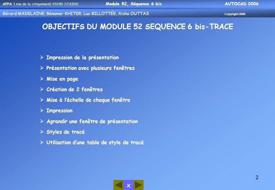x AFPA 1 rue de la citoyenneté 93245 STAINS Module 52, Séquence 6 bis AUTOCAD 2006 Gérard MADELAINE, Bénamar KHITER, Luc BILLOTTÉE, Aïcha OUTTAS Copyr