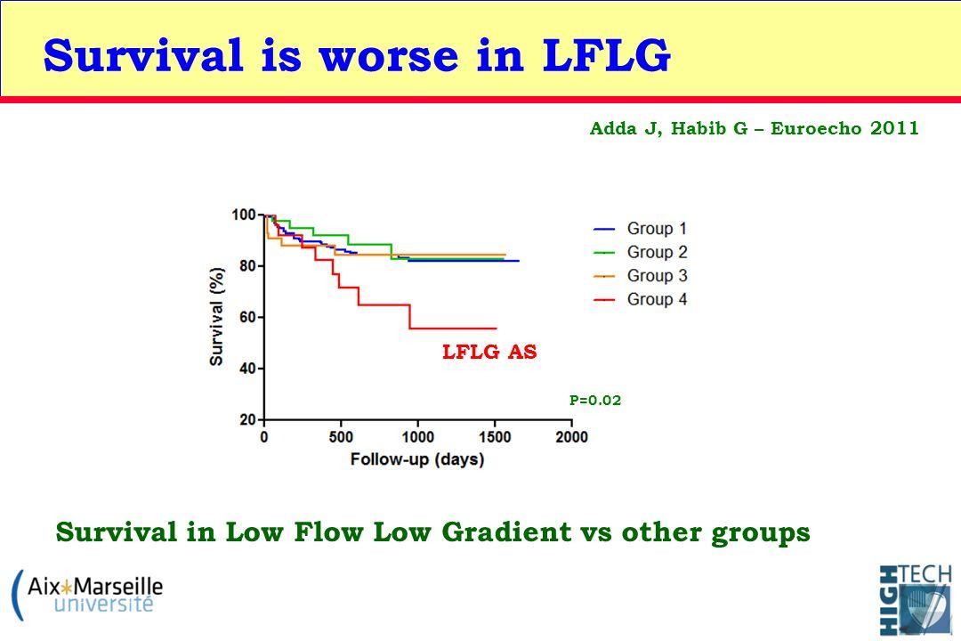 Survival is worse in LFLG Survival in Low Flow Low Gradient vs other groups LFLG AS Adda J, Habib G – Euroecho 2011 P=0.02