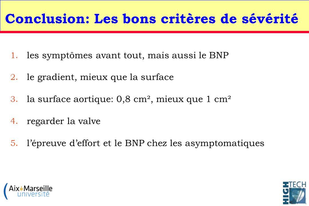 Conclusion: Les bons critères de sévérité 1. les symptômes avant tout, mais aussi le BNP 2. le gradient, mieux que la surface 3. la surface aortique:
