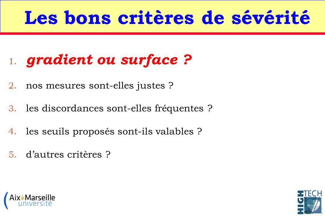 Les bons critères de sévérité 1. gradient ou surface ? 2. nos mesures sont-elles justes ? 3. les discordances sont-elles fréquentes ? 4. les seuils pr