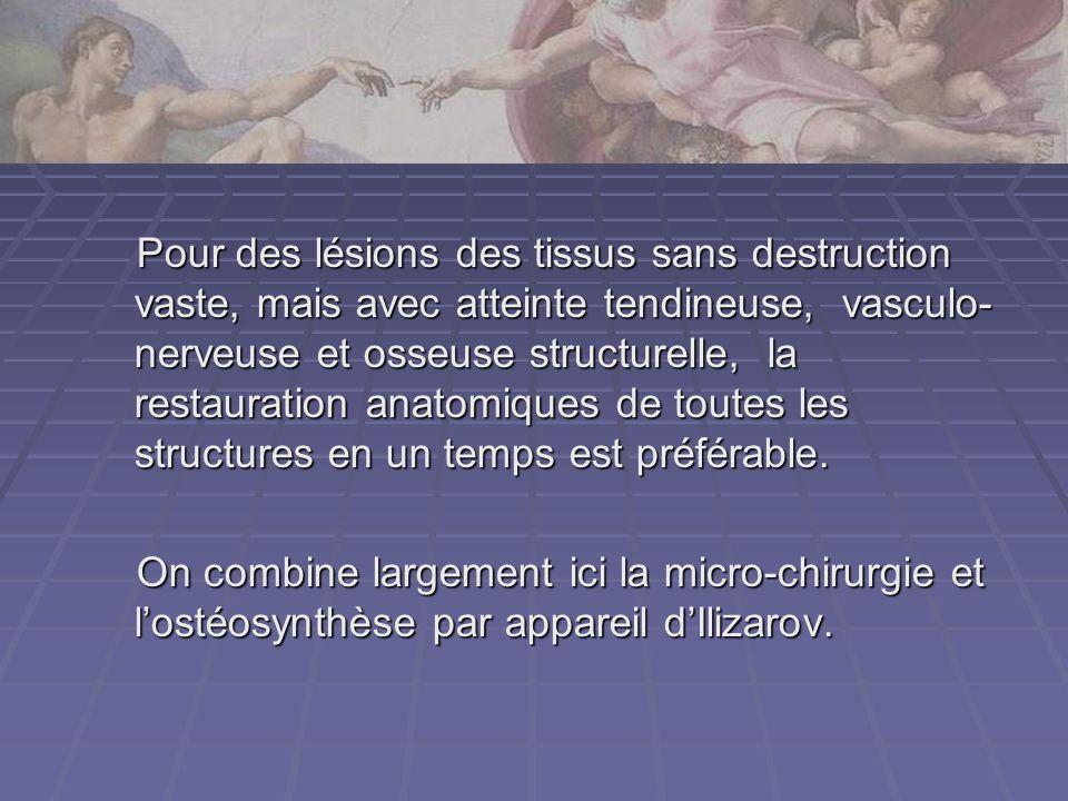 Pour des lésions des tissus sans destruction vaste, mais avec atteinte tendineuse, vasculo- nerveuse et osseuse structurelle, la restauration anatomiq