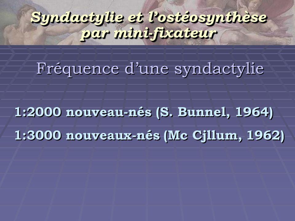 Fréquence dune syndactylie 1:2000 nouveau-nés (S. Bunnel, 1964) 1:3000 nouveaux-nés (Mc Cjllum, 1962) 1:2000 nouveau-nés (S. Bunnel, 1964) 1:3000 nouv