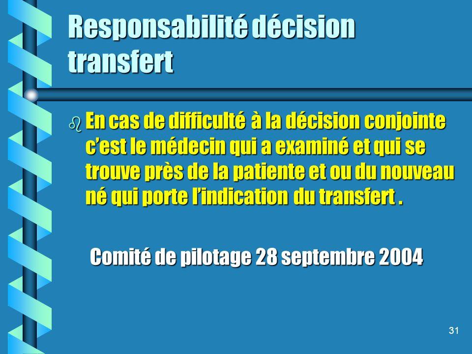 31 Responsabilité décision transfert b En cas de difficulté à la décision conjointe cest le médecin qui a examiné et qui se trouve près de la patiente et ou du nouveau né qui porte lindication du transfert.
