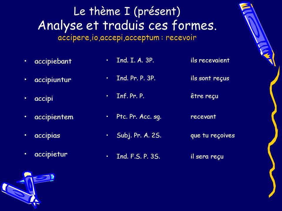 Le thème I (présent) Analyse et traduis ces formes. accipere,io,accepi,acceptum : recevoir accipiebant accipiuntur accipi accipientem accipias accipie