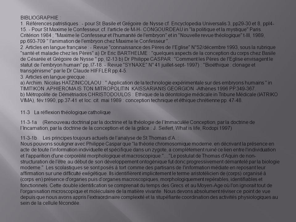 BIBLIOGRAPHIE : 1.Références patristiques : - pour St Basile et Grégoire de Nysse cf.