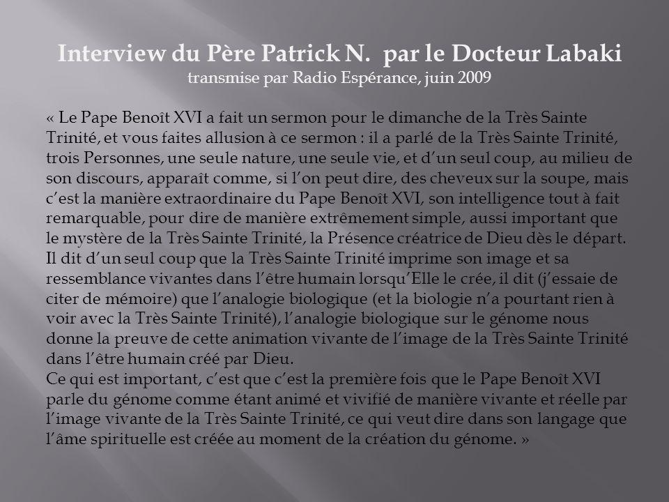 Interview du Père Patrick N.