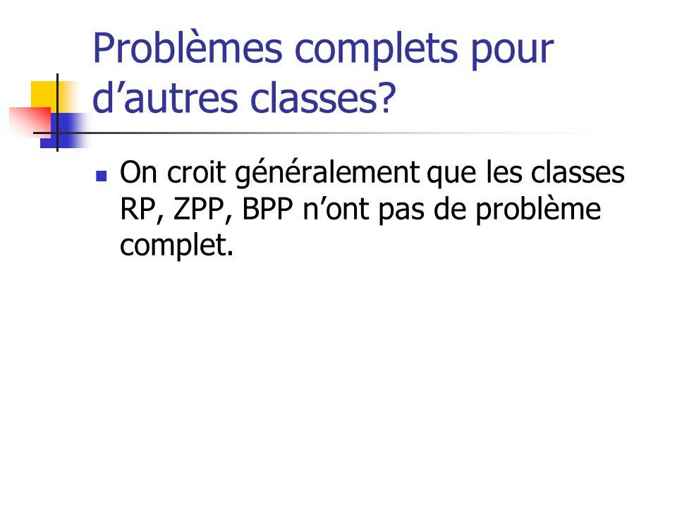 Problèmes complets pour dautres classes? On croit généralement que les classes RP, ZPP, BPP nont pas de problème complet.