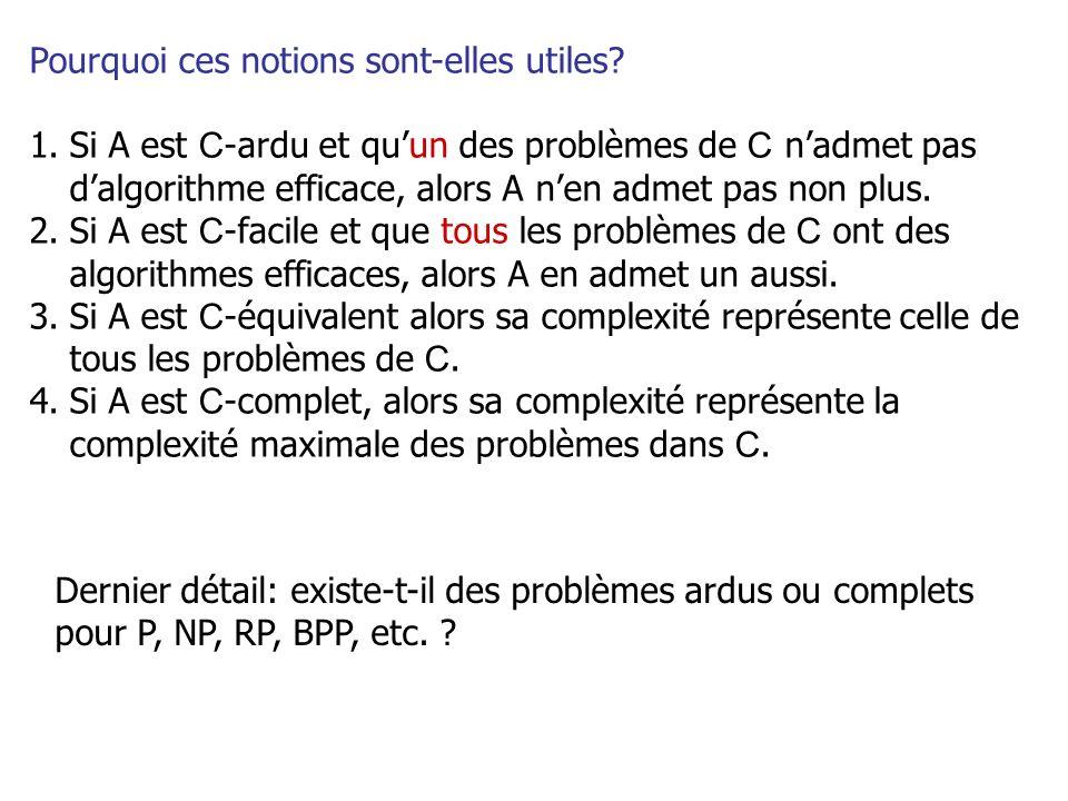 Pourquoi ces notions sont-elles utiles? 1.Si A est C -ardu et quun des problèmes de C nadmet pas dalgorithme efficace, alors A nen admet pas non plus.