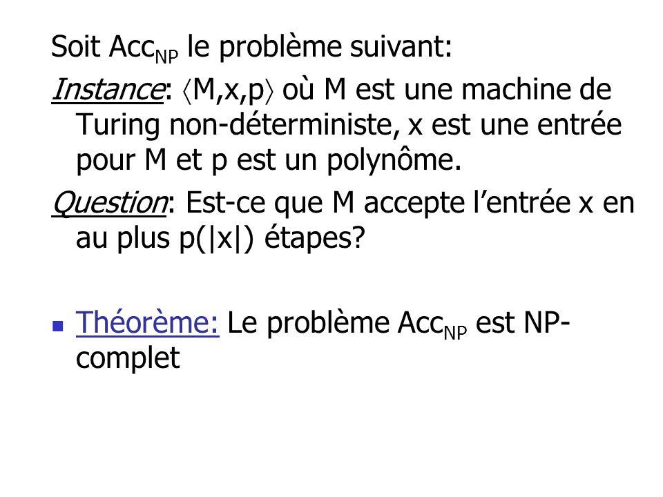 Soit Acc NP le problème suivant: Instance: M,x,p où M est une machine de Turing non-déterministe, x est une entrée pour M et p est un polynôme. Questi