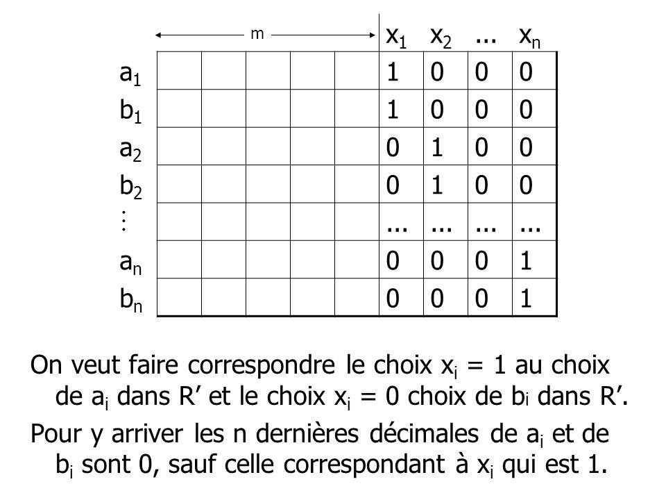 On veut faire correspondre le choix x i = 1 au choix de a i dans R et le choix x i = 0 choix de b i dans R. Pour y arriver les n dernières décimales d