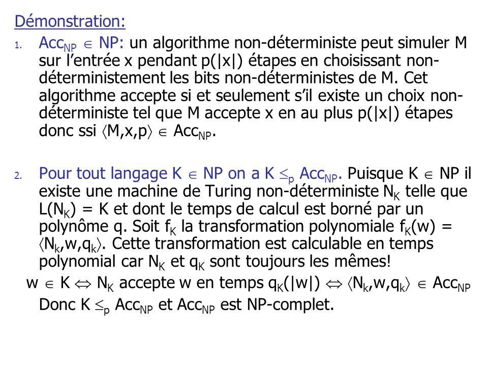 Démonstration: 1. Acc NP NP: un algorithme non-déterministe peut simuler M sur lentrée x pendant p(|x|) étapes en choisissant non- déterministement le