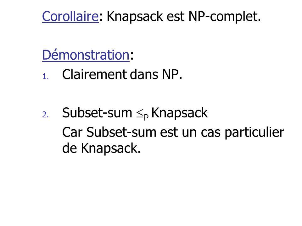 Corollaire: Knapsack est NP-complet. Démonstration: 1. Clairement dans NP. 2. Subset-sum P Knapsack Car Subset-sum est un cas particulier de Knapsack.