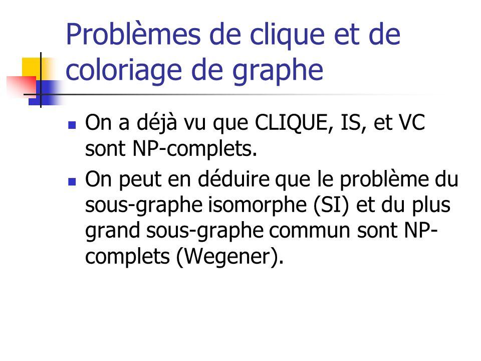 Problèmes de clique et de coloriage de graphe On a déjà vu que CLIQUE, IS, et VC sont NP-complets. On peut en déduire que le problème du sous-graphe i