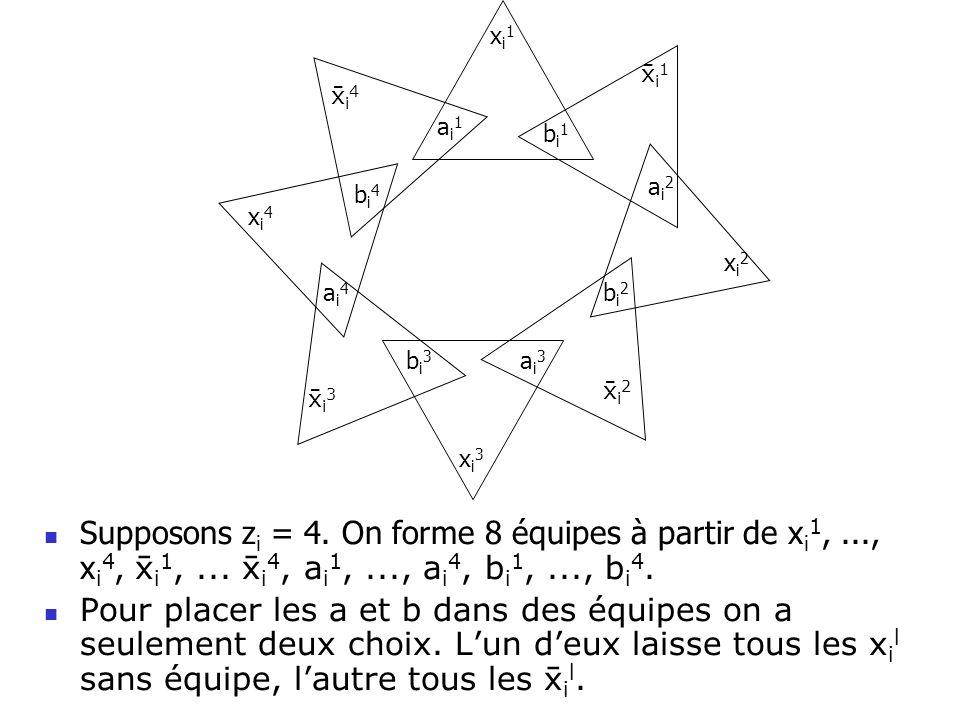 Supposons z i = 4. On forme 8 équipes à partir de x i 1,..., x i 4, i 1,... i 4, a i 1,..., a i 4, b i 1,..., b i 4. Pour placer les a et b dans des é