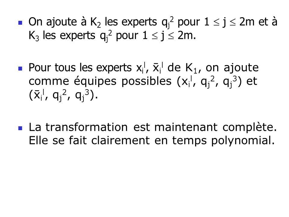 On ajoute à K 2 les experts q j 2 pour 1 j 2m et à K 3 les experts q j 2 pour 1 j 2m. Pour tous les experts x i l, i l de K 1, on ajoute comme équipes
