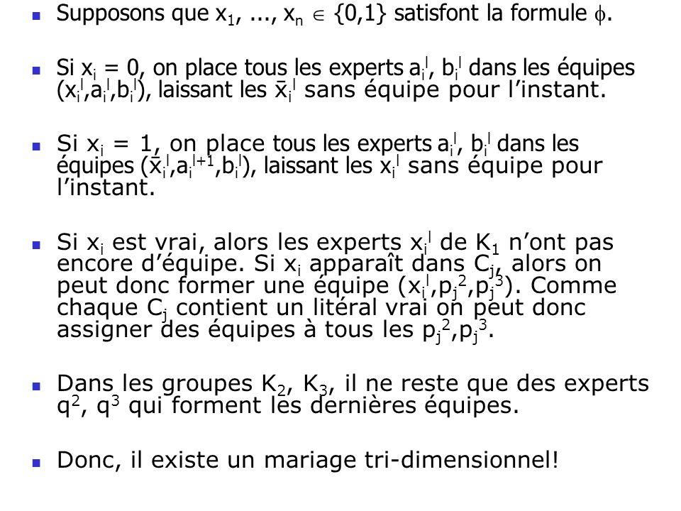 Supposons que x 1,..., x n {0,1} satisfont la formule. Si x i = 0, on place tous les experts a i l, b i l dans les équipes (x i l,a i l,b i l ), laiss