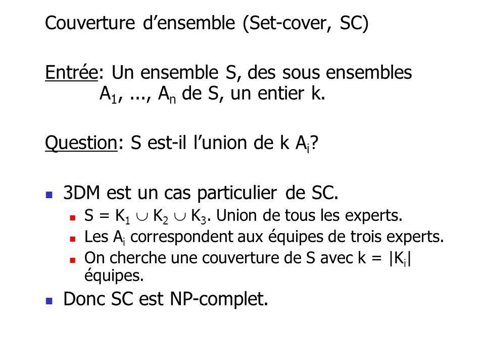 Couverture densemble (Set-cover, SC) Entrée: Un ensemble S, des sous ensembles A 1,..., A n de S, un entier k. Question: S est-il lunion de k A i ? 3D