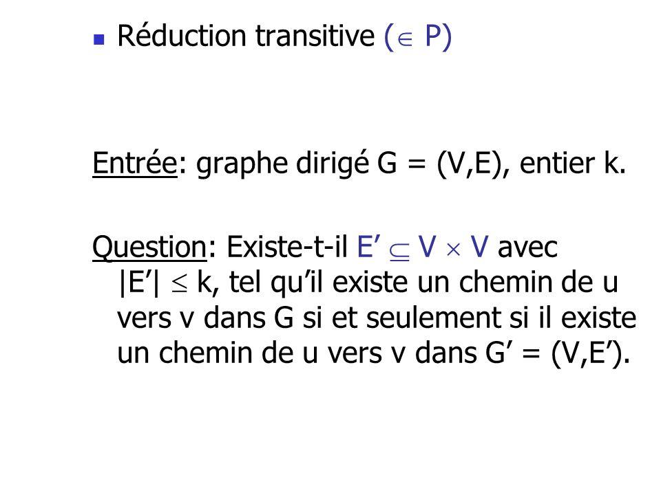 Réduction transitive ( P) Entrée: graphe dirigé G = (V,E), entier k. Question: Existe-t-il E V V avec |E| k, tel quil existe un chemin de u vers v dan