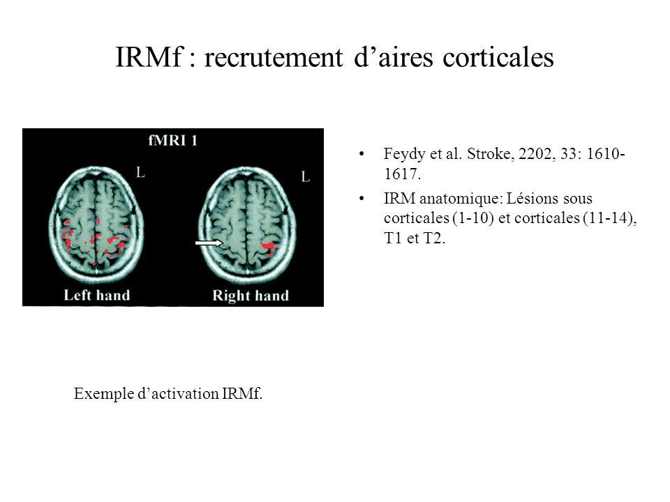 IRMf : recrutement daires corticales Feydy et al. Stroke, 2202, 33: 1610- 1617. IRM anatomique: Lésions sous corticales (1-10) et corticales (11-14),