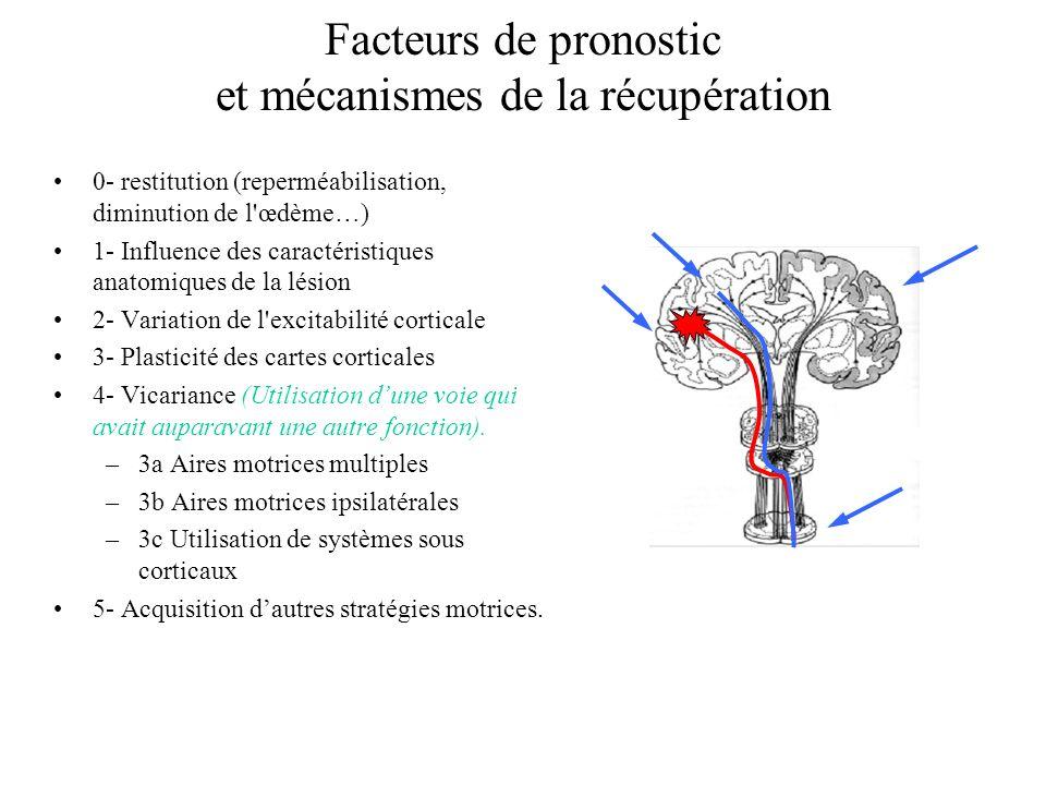 Facteurs de pronostic et mécanismes de la récupération 0- restitution (reperméabilisation, diminution de l'œdème…) 1- Influence des caractéristiques a