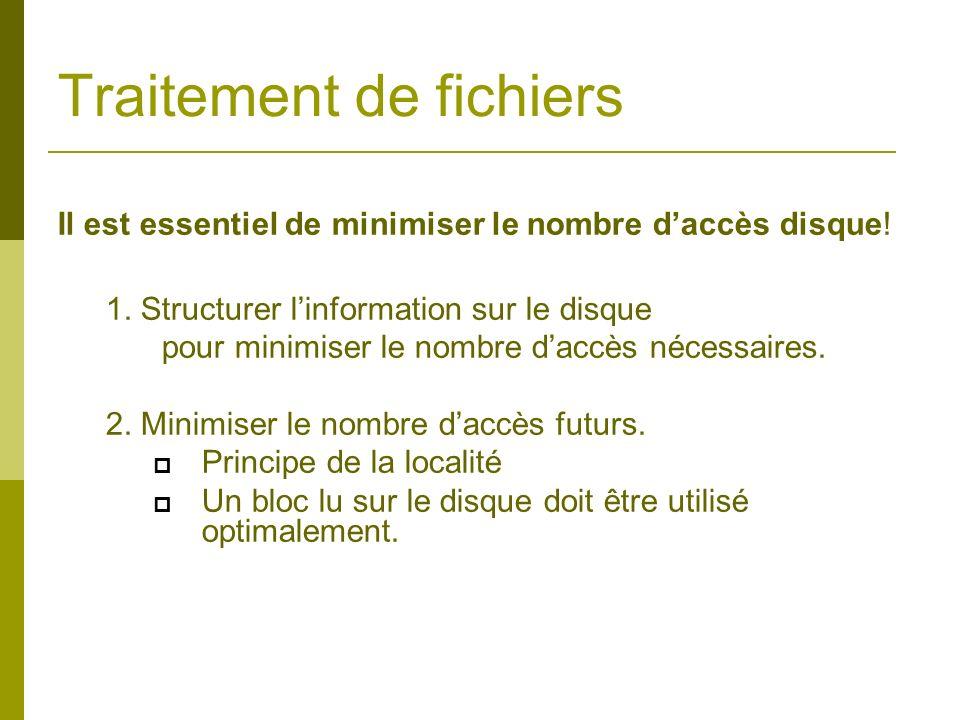 Traitement de fichiers Il est essentiel de minimiser le nombre daccès disque! 1. Structurer linformation sur le disque pour minimiser le nombre daccès