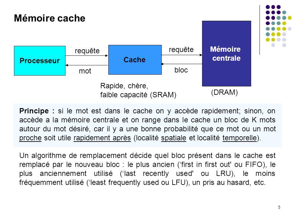 5 Mémoire cache Processeur Cache Mémoire centrale requête mot bloc Rapide, chère, faible capacité (SRAM) Principe : si le mot est dans le cache on y a