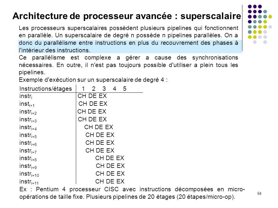 64 Architecture de processeur avancée : superscalaire Les processeurs superscalaires possèdent plusieurs pipelines qui fonctionnent en parallèle. Un s