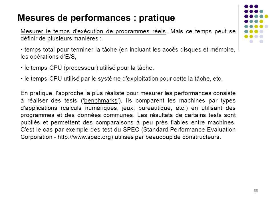 66 Mesures de performances : pratique Mesurer le temps d'exécution de programmes réels. Mais ce temps peut se définir de plusieurs manières : temps to