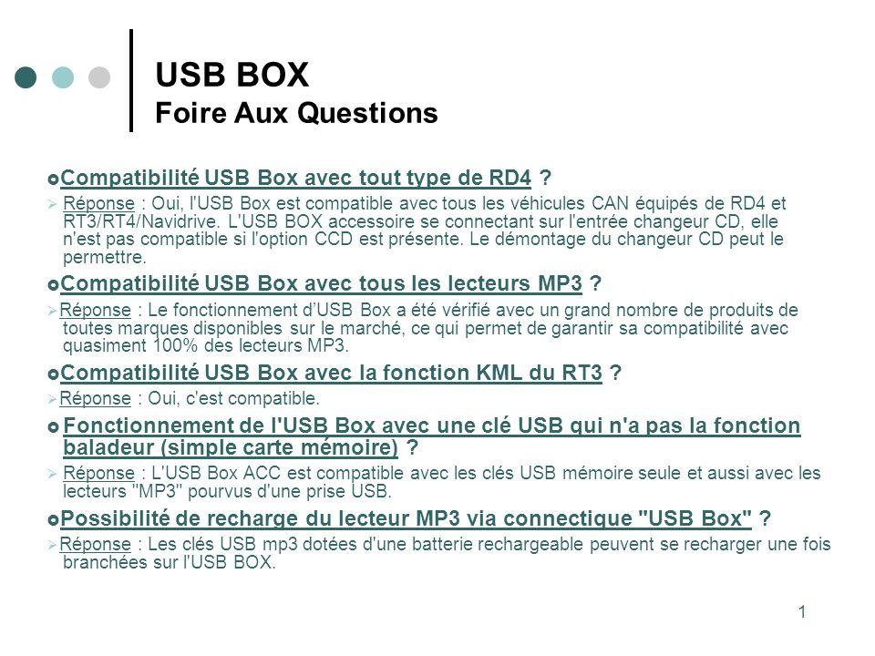 1 USB BOX Foire Aux Questions Compatibilité USB Box avec tout type de RD4 ? Réponse : Oui, l'USB Box est compatible avec tous les véhicules CAN équipé