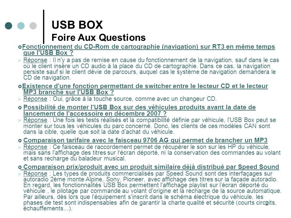 2 USB BOX Foire Aux Questions Fonctionnement du CD-Rom de cartographie (navigation) sur RT3 en même temps que l'USB Box ? Réponse : Il n'y a pas de re