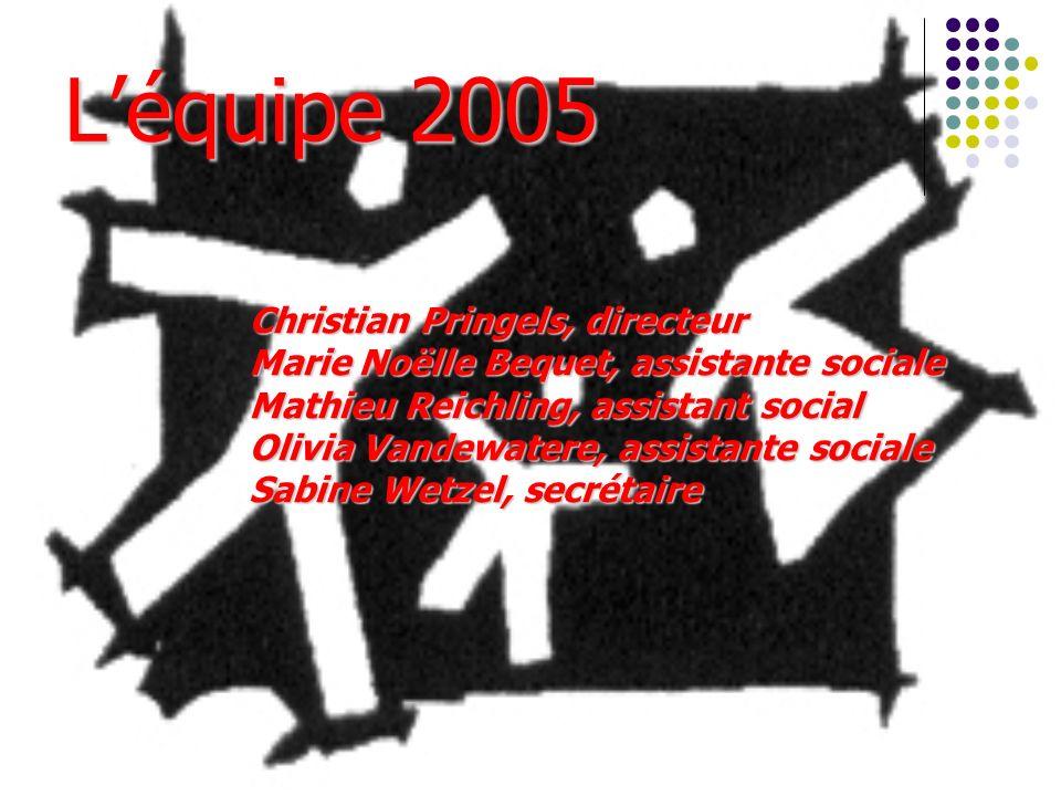 Léquipe 2005 Christian Pringels, directeur Marie Noëlle Bequet, assistante sociale Mathieu Reichling, assistant social Olivia Vandewatere, assistante sociale Sabine Wetzel, secrétaire
