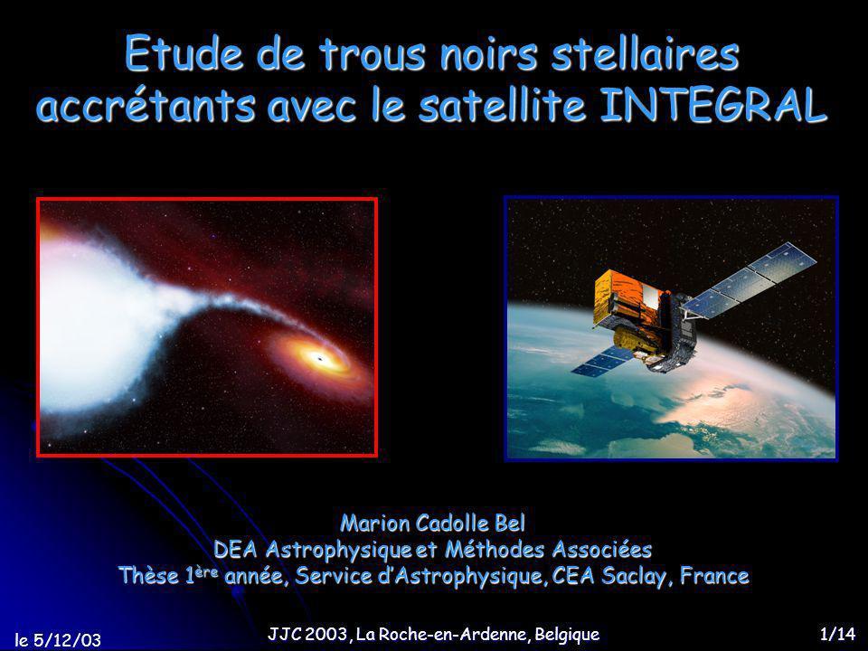 le 5/12/03 Etude de trous noirs stellaires avec INTEGRAL 12/14 Spectres de ces sources transitoires ou novae X XTE 1720 H 1743 …Interprétation physique de ce modèle ST ?