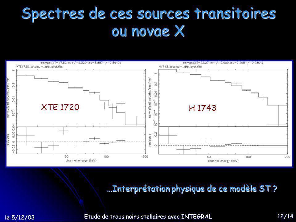 le 5/12/03 Etude de trous noirs stellaires avec INTEGRAL 12/14 Spectres de ces sources transitoires ou novae X XTE 1720 H 1743 …Interprétation physique de ce modèle ST