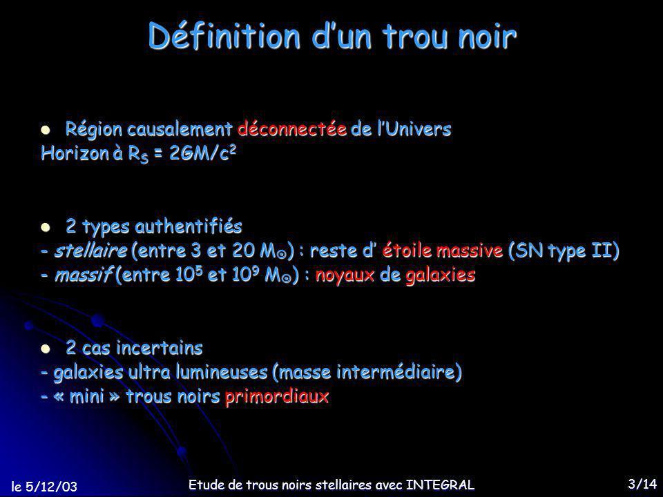 le 5/12/03 Etude de trous noirs stellaires avec INTEGRAL 4/14 Système binaire X Système : OC (EN, TN) + étoile compagnon Fonction de masse : limite inférieure de M > 200 dans la Voie Lactée TN (masse stellaire) : ~3 108, 1000 MSgrA*.