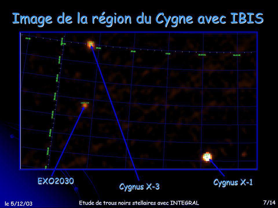 le 5/12/03 Etude de trous noirs stellaires avec INTEGRAL 7/14 Image de la région du Cygne avec IBIS EXO2030 Cygnus X-3 Cygnus X-1