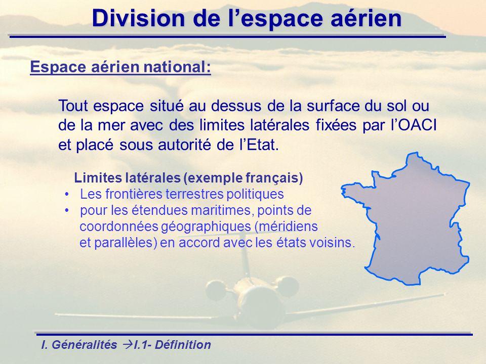 Division de lespace aérien Espace aérien national: Tout espace situé au dessus de la surface du sol ou de la mer avec des limites latérales fixées par