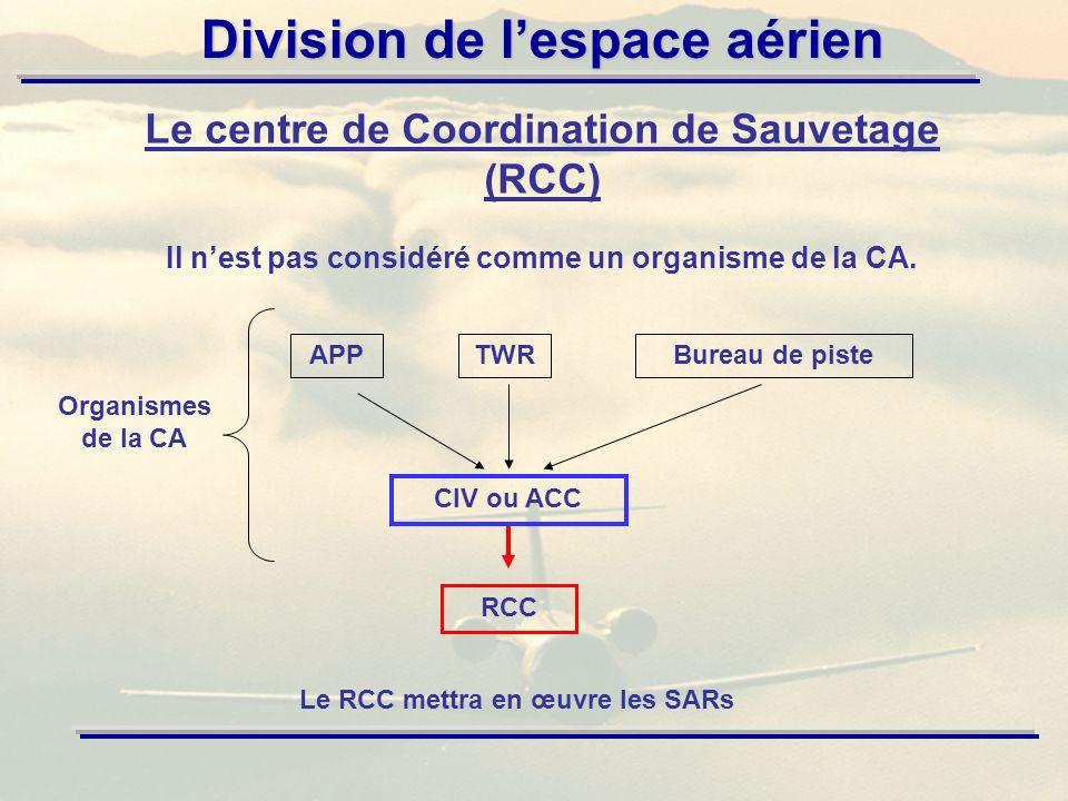 Division de lespace aérien Le centre de Coordination de Sauvetage (RCC) Il nest pas considéré comme un organisme de la CA. APPTWRBureau de piste CIV o