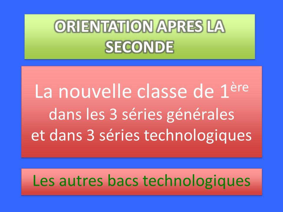 La nouvelle classe de 1 ère dans les 3 séries générales et dans 3 séries technologiques Les autres bacs technologiques