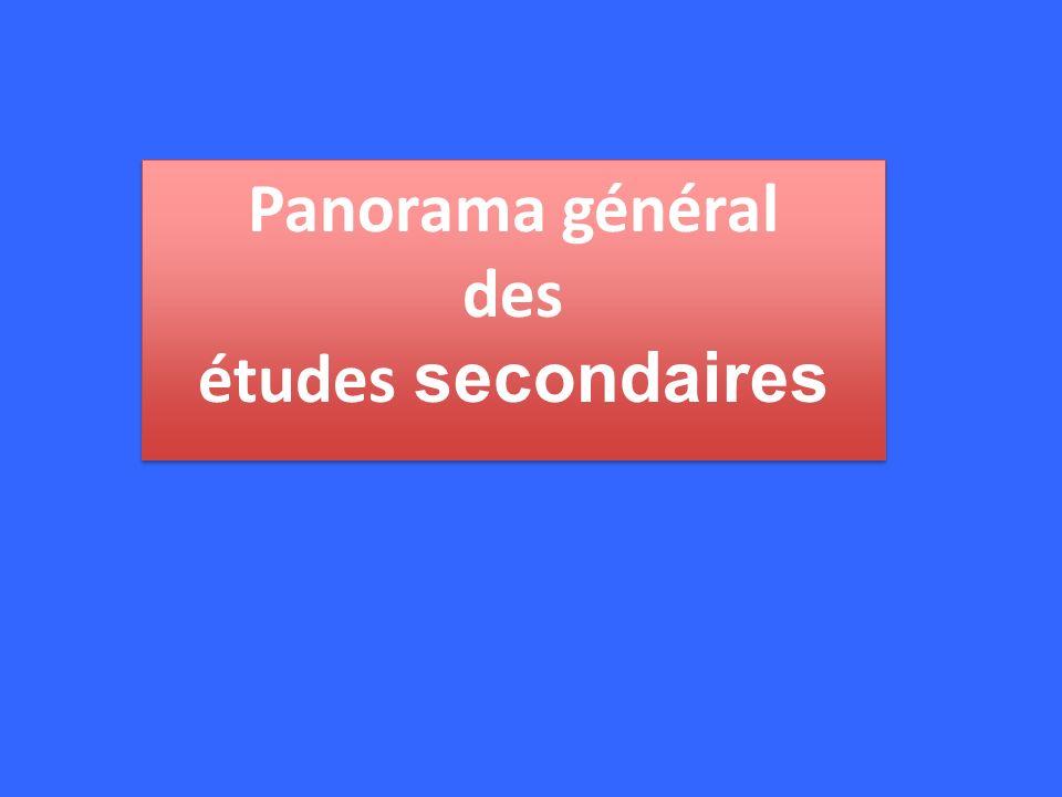 Panorama général des études secondaires Panorama général des études secondaires