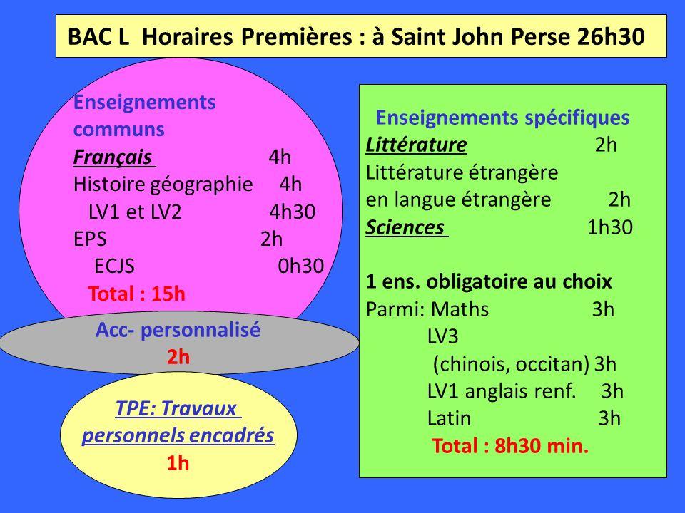 BAC L Horaires Premières : à Saint John Perse 26h30 Enseignements communs Français 4h Histoire géographie 4h LV1 et LV2 4h30 EPS 2h ECJS 0h30 Total : 15h Enseignements spécifiques Littérature 2h Littérature étrangère en langue étrangère 2h Sciences 1h30 1 ens.