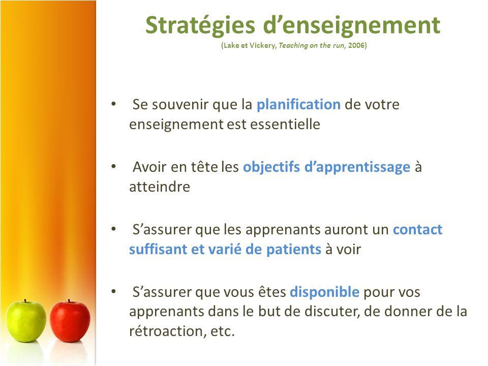 Stratégies denseignement (Lake et Vickery, Teaching on the run, 2006) Se souvenir que la planification de votre enseignement est essentielle Avoir en