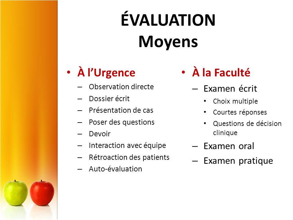 ÉVALUATION Moyens À lUrgence – Observation directe – Dossier écrit – Présentation de cas – Poser des questions – Devoir – Interaction avec équipe – Ré