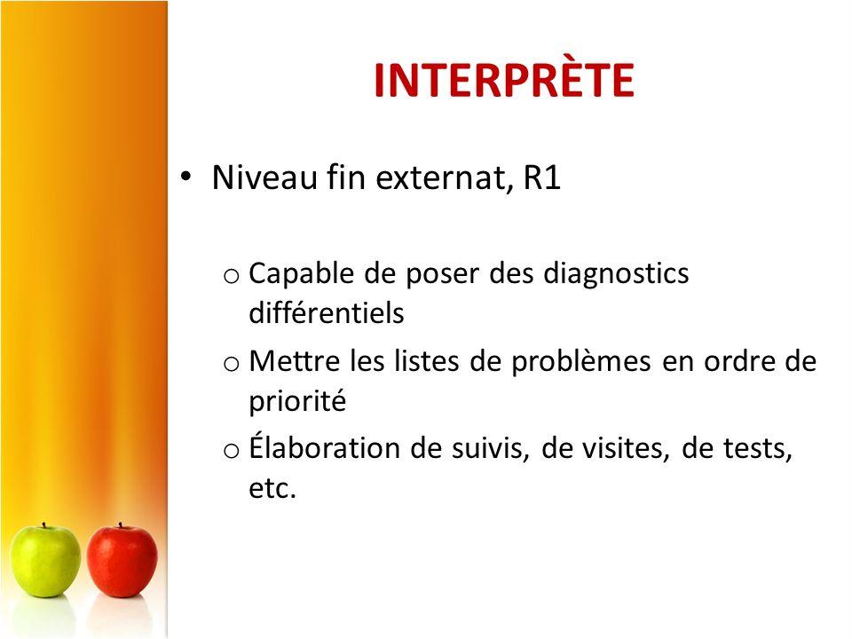 INTERPRÈTE Niveau fin externat, R1 o Capable de poser des diagnostics différentiels o Mettre les listes de problèmes en ordre de priorité o Élaboratio