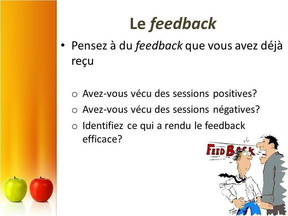 Le feedback Pensez à du feedback que vous avez déjà reçu o Avez-vous vécu des sessions positives? o Avez-vous vécu des sessions négatives? o Identifie