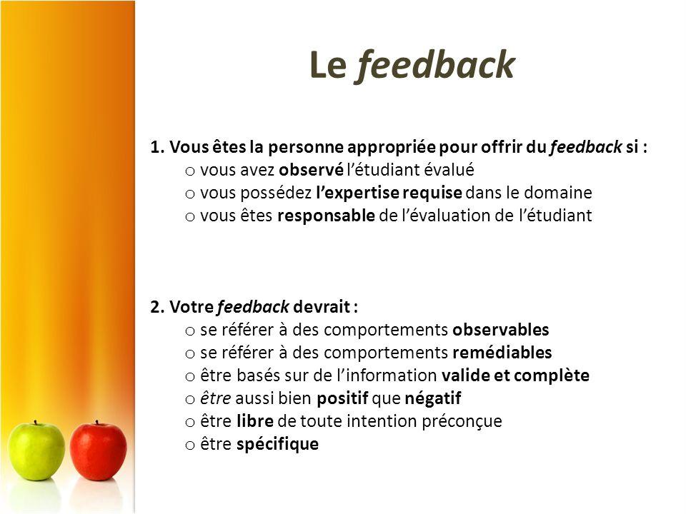 1. Vous êtes la personne appropriée pour offrir du feedback si : o vous avez observé létudiant évalué o vous possédez lexpertise requise dans le domai