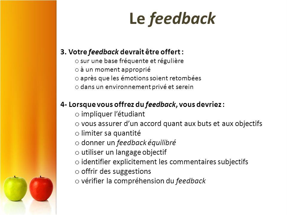 3. Votre feedback devrait être offert : o sur une base fréquente et régulière o à un moment approprié o après que les émotions soient retombées o dans