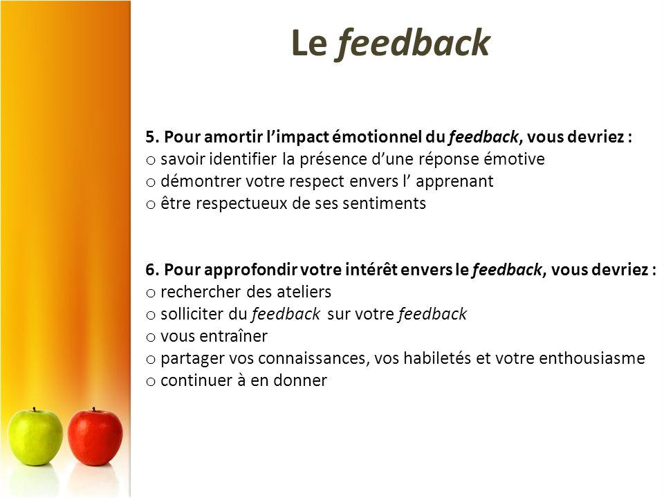 5. Pour amortir limpact émotionnel du feedback, vous devriez : o savoir identifier la présence dune réponse émotive o démontrer votre respect envers l